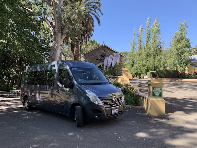 Bus tours to the Barossa Valley , here at the Seppeltsfield winery in the gardens next to the old vinegar shed, now it hosts Vassy Virgin oils and great products for health and Beauty.