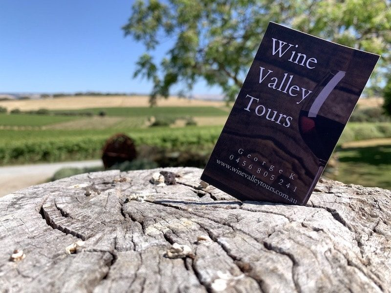 McLaren Vale vineyards here with my business card for those who love wine tours.