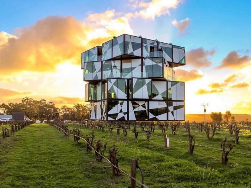 The Cube in McLaren Vale set in the McLaren Vale vineyards with rows of vines , this cube structure is set on a mirror so it looks like it is floating in the air.